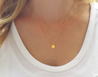 Gold coin necklace, Dainty gold necklace, Gold disc necklace, Layering jewelry, Coin jewelry, Gold pendant necklace, Dainty charm necklace