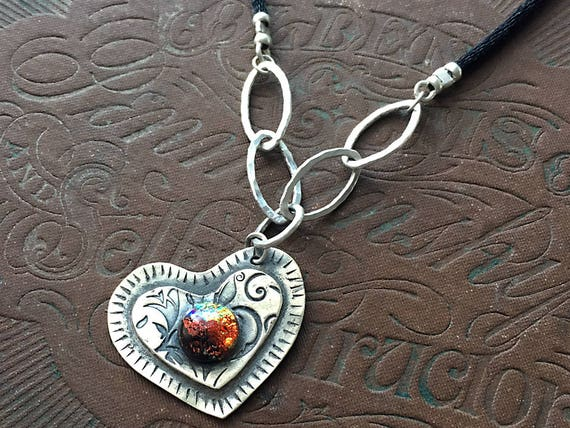 Sideways Heart Necklace, Heart Shaped Pendant, Anniversary Necklace, Dichroic Glass Jewelry