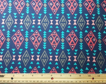 Tribal Print Fabric, Fat Quarter ONLY FQ, Southwestern Fabric, Tribal Fabric, Native Print Fabric, Primitive, Craft Fabric, Quilting Fabric,