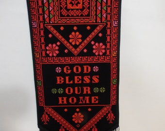 Palestinian red Embroidered wall hanging.
