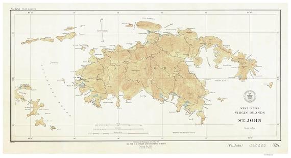 Saint John 1934 Map Virgin Islands Topographical NOAA