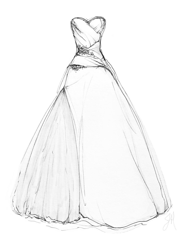 Custom wedding dress illustration portrait 8x10 for How to become a wedding dress model