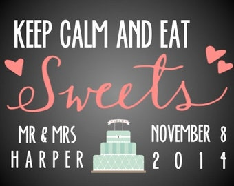 "PRINTABLE Sweets Table Sign - 4 COLORS! - Custom Printable DIY, 5x7"" Print to Frame"