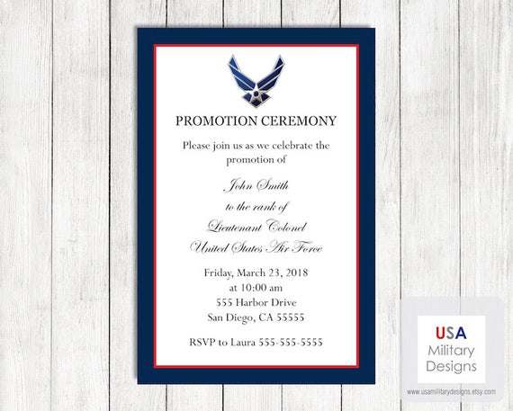 Air force promotion ceremony invitation printable air force stopboris Choice Image