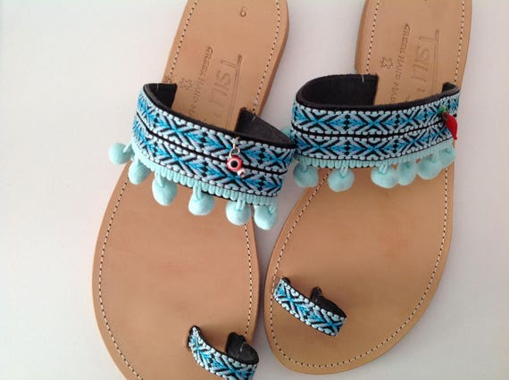 Sandals Sandal Hippie Sandals Unique Sandals Gift Chic Sandal Sandals Pom Greek Bohemian Pom Sandals Sandals Ethnic Boho Leather Blue pOwWqUd