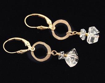 Herkimer Diamond earrings, Gift for Her, Herkimer earrings, Herkimer Diamonds Jewelry, Herkimer Diamond Quartz, Nickel Free Gold
