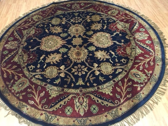 "7'7"" x 7'7"" Round Indian Agra Oriental Rug - Hand Made - 100% Wool"