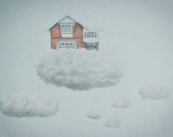 House on Cloud Drawing, Limited Edition Print of Original Pencil Drawing - Surreal, Whimsical Art, floating house