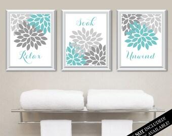 Floral Relax Soak Unwind Print Trio. Bathroom Home Decor Wall.  Bathroom Art. Flower Bathroom. Blue Bath Art. Flower Bath Art. NS-803