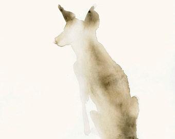 Animal Watercolor Artwork Snow Dog Fine Art Print from Original Watercolor