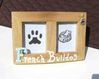 Final Markdown Sale...FRENCH BULLDOG Dog Breed Wood Desktop Double Photo Frame w/Pawprint Charm