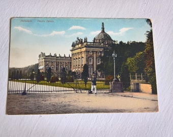 Antique New Palace Postcard --- Vintage 1910's German Mail Souvenir Potsdam Germany --- Old World Charm Lovely Town Historical Home Decor