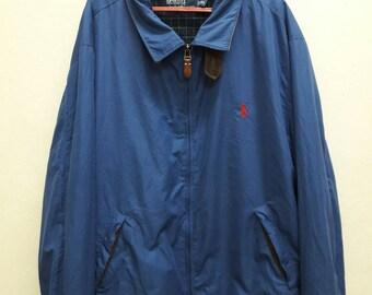 SALE!! Vintage POLO Ralph Lauren Windbreaker Jacket Dark Blue Athletic Apparel Sports Activewear hip hop swag Jumper Sweater sweatshirt