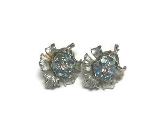 Aurora Borealis Rhinestone Earrings, Flower Earrings, Clip Earrings, Vintage 1950s Earrings, Costume Jewelry
