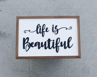 Rustic Wood Sign - Farmhouse Style Sign - Life is Beautiful - Laser Cut Wood - Farmhouse Sign - Home Decor - Rustic Farmhouse - Wooden Sign