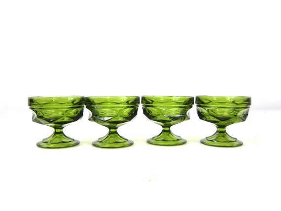 4 Retro Green glass Dessert Cups Pudding Dishes cocktail party Custard cups Kitchen Bar Decor Short Cut Glass Cups