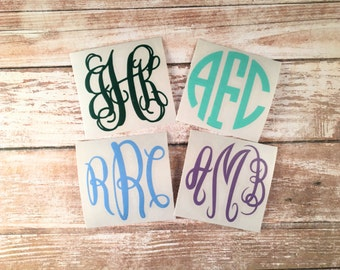 Monogram Decal, Yeti Decal, Laptop Decal, Phone Decal, Macbook Decal, Monogrammed Sticker, Car Decal, Monogram Sticker, iPad Decal