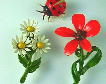 Enamel Floral Brooch Collection a Spring Pin Grouping