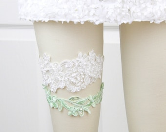 Light Ivory and Mint Green  Beaded Lace Wedding Garter Set , Ivory Lace Garter Set, Toss Garter, Wedding Garter Belt, Mint Green Garter