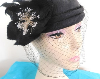 Vintage Ladies 1950's Black 100% Straw Skull Style With Side Flower and full Veiling By Miss Delores