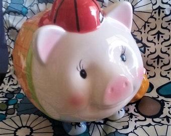 Vintage Money Bank / Porcelain Piggy Bank / Coin Bank Baseball Piglet / Piggy Savings Bank / Vintage Whimsical Money Saver