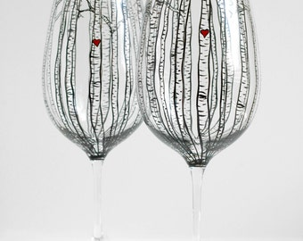 Birch Tree Toasting Glasses - Hand Painted Wine Glasses - Personalized Birch Tree Wedding Theme
