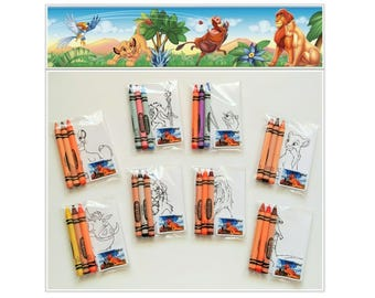 8 sets Lion King Premium Crayola Crayons and Coloring Card Favors ~ The Lion King Birthday Party Favors ~ Lion King Favors
