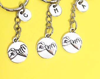 Best friends keychain - set of three, bff charm,3 bff keychain, set of 3 best friend,customized keychain,monogram,initial keychain, bff gift
