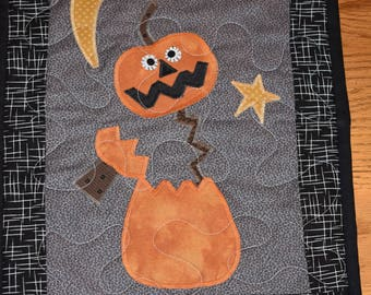 """Jack in the Night - Mini Quilt or Wall Warmer     Gray, Black  and Orange   11"""" x 15"""""""