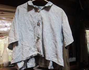 Vintage 1980's Stone Washed Denim Blouse W/ Flowered Covered Buttons Size Large