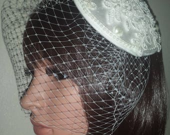 """Ivory birdcage veil 9"""". Juliet cap with lace pearls hearts and bows and beaded applique motif. FREE UK POSTAGE"""