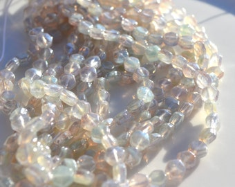 Pale Shimmer Pink 5mm Nailhead Beads  25