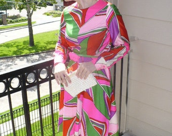 Vintage 60s Go go Dancer Bond Multi color pattern 60s Mod Mini Dress long sleeves Red pink green by jeansvintagecloset on Etsy