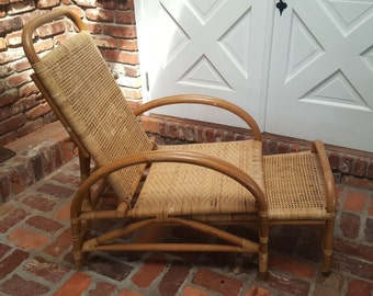 Rattan & Cane Lounge Chair with Extendable Foot Rest