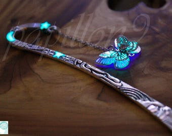 Butterfly BOOKMARK / GLOW in the DARK Bookmark / Butterfly Purple Turquoise / Glow Bookmark /