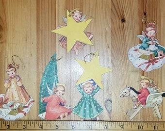 6, six, double sided paper Christmas ornaments. Vintage Christmas ephemera