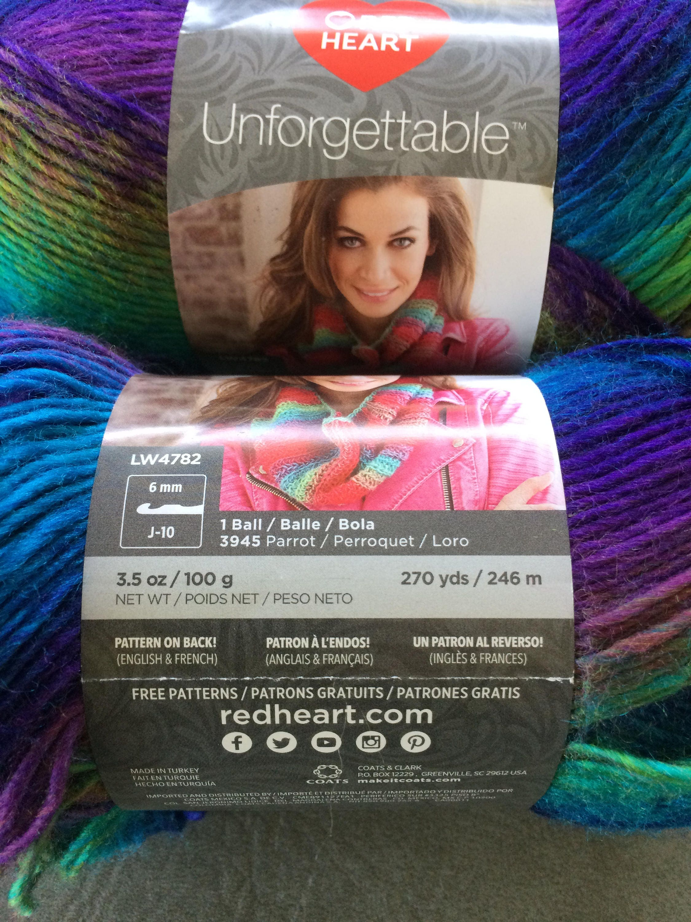 Red Heart Unforgettable Yarn, Color Gossamer, Purple and Teal, Self ...