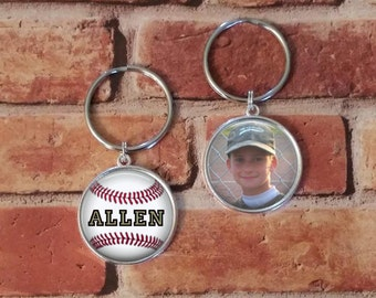 SALE! Double-Sided Keychain - Baseball with Photo Key Chain - Personalized Key Chain-  - Cyber Monday