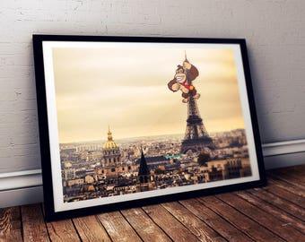 Donkey Kong (Nintendo) sur la Tour Eiffel à Paris France / Art japonais geek et pop