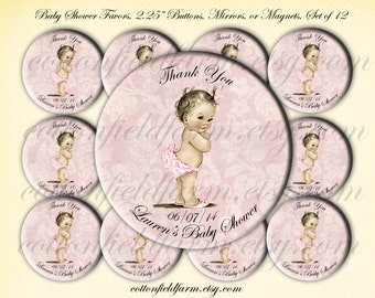 Baby Shower Favors Vintage Retro Baby Girl Images  2.25 inch Pin Back Buttons, Mirrors or Magnets Set of 12 Personalized