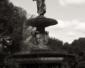 Central Park Bethesda fountain sepia