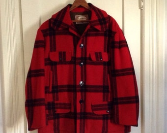 Vintage 1950's Carter's Plaid Wool Hunting Jacket Coat size 42 Large Red Black Excellent Condition