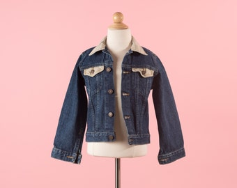 Vintage Dark Blue And Khaki Brown Denim Jean Jacket (Boys Size 7)