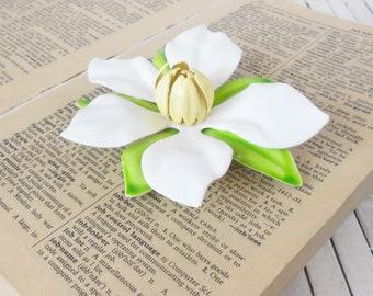 Vintage Sarah Cov Flower Brooch, Enamel flower Pin, State flower, Large Floral pin, Magnolia brooch,