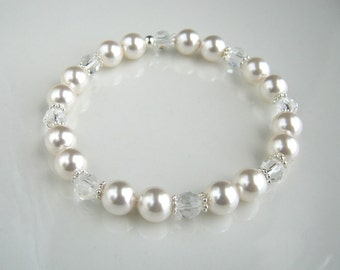 Crystal and White Pearl Bracelet Swarovski White Pearl Stretch Bracelet Pearl Wedding Bracelet