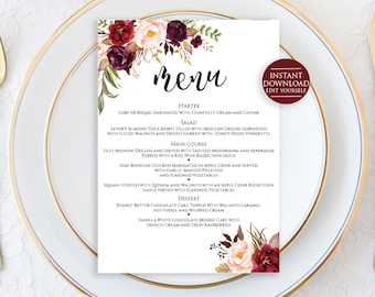 "Editable Menu Template, Wedding Menu Template, Menu Printable, Menu Cards, Editable Wedding Menu, Marsala Wedding Menu, 5""x7"" Menu Printable"