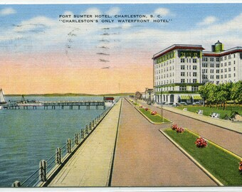 Fort Sumter Hotel Old Battery Charleston South Carolina 1949 linen postcard