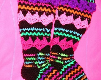 PDF Crochet Pattern  Plus size  Hearts and Posies for your Tosies Slipper Stockings