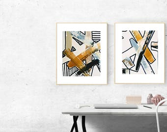 Abstract Painting Set of Two on Canvas Panel Gold Original Art Black and White Set of 2 Paintings / Gift Set Wall Art Black White Stripes