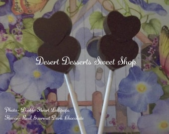 CHOCOLATE HEART LOLLIPOPS, Chocolate Heart Party Favors, Chocolate Double Heart Lollipops, Desert Sweet Shop